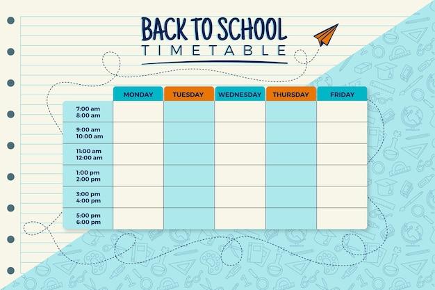 Horario plano de regreso a la escuela