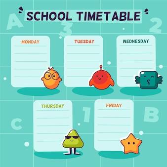 Horario de regreso a la escuela en diseño plano