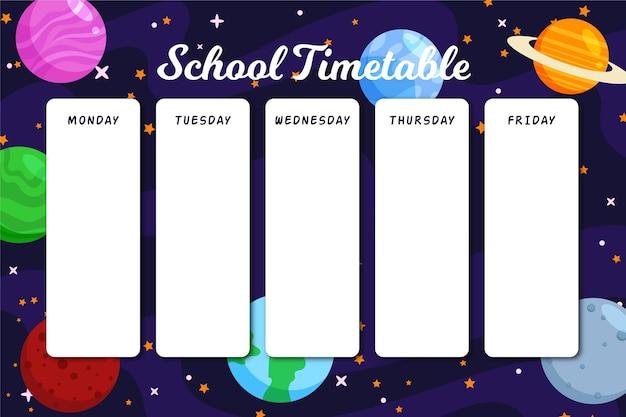 Horario de regreso a la escuela con planetas