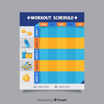 Horario semanal moderno de gimnasio con diseño plano