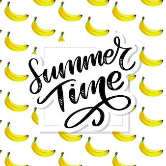 Horario de verano acuarela de patrones sin fisuras con plátanos. dibujado a mano tropical. ilustración de frutas de verano.