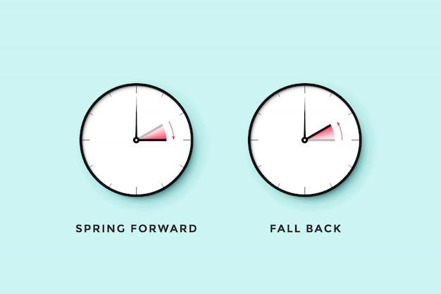Horario de verano. conjunto de tiempo de reloj para primavera adelante, otoño atrás, horario de verano