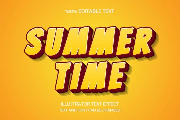 Horario de verano, efecto de texto editable 3d estilo lindo moderno
