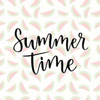 Horario de verano. frase de inspiración para la decoración. imprimir con fondo de sandía