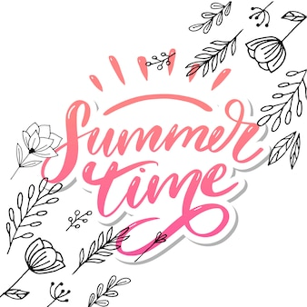 Horario de verano letras de texto letras de caligrafía lema negro sales holiday flyer banner poster
