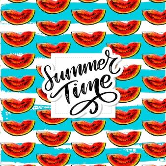 Horario de verano sandía acuarela de patrones sin fisuras, pieza jugosa, composición de verano de rodajas rojas de sandía. obra .. para ti s.
