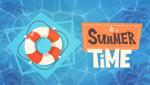 Horario de verano, vacaciones en el mar, boya de vida en el agua, bandera retro, vacaciones en el mar