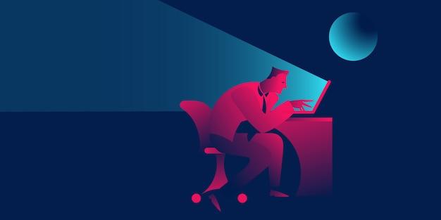Horas extra o trabajar hasta tarde en la noche, fecha límite