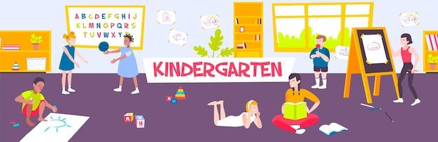Horizontal con clase de niños dibujando y jugando en la ilustración plana de jardín de infantes,