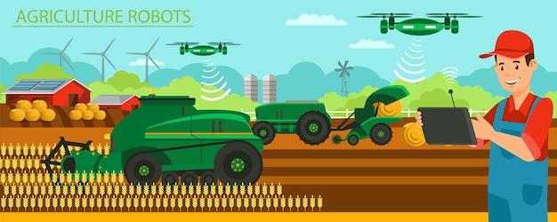 Horizontal flat banner agricultura modernos robots.