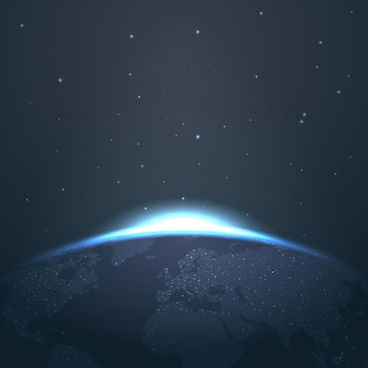 Horizonte del amanecer sobre la tierra desde el espacio con estrellas y luces. ilustración amanecer y astronomía resplandor amanecer en el universo