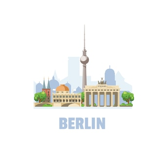Horizonte de la ciudad de berlín. paisaje urbano con famosos edificios arquitectónicos.