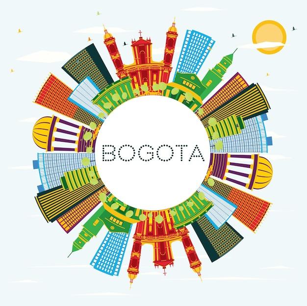 Horizonte de la ciudad de bogotá colombia con edificios de color, cielo azul y espacio de copia. ilustración de vector. concepto de turismo y viajes de negocios con edificios históricos. paisaje urbano de bogotá con hitos.