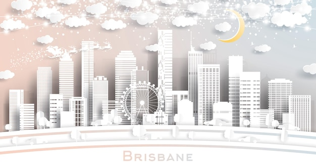 Horizonte de la ciudad de brisbane australia en estilo de corte de papel con copos de nieve, luna y guirnalda de neón