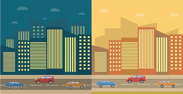 Horizonte de la ciudad día y noche con casas y una carretera con coches.