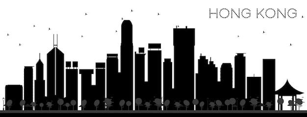 Horizonte de la ciudad de hong kong china silueta en blanco y negro. concepto plano simple para presentación turística, banner, cartel o sitio web. paisaje urbano de hong kong con hitos. ilustración vectorial.