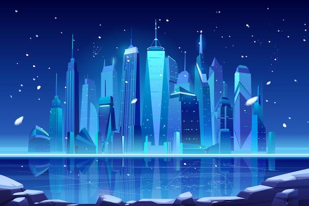 Horizonte de la ciudad de invierno de neón de noche en la bahía congelada.