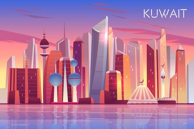 Horizonte de la ciudad de kuwait. fondo panorámico del estado árabe moderno