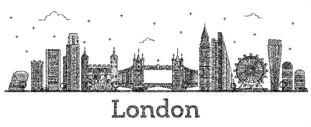 Horizonte de la ciudad de londres inglaterra grabado con edificios modernos aislados en blanco. ilustración de vector. paisaje urbano de londres con hitos.