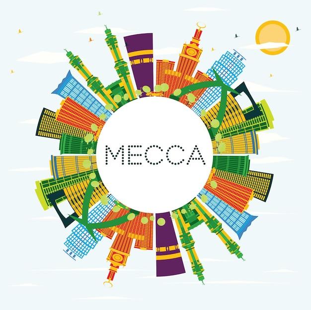 Horizonte de la ciudad de la meca con edificios de color, cielo azul y espacio de copia. ilustración de vector. concepto de viajes y turismo con edificios históricos. paisaje urbano de la meca con hitos.