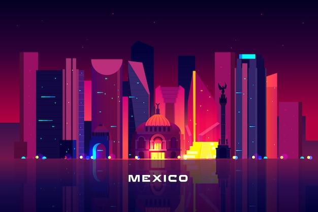 Horizonte de la ciudad de méxico, iluminación de neón.