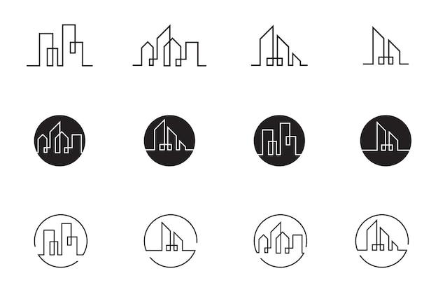 Horizonte de la ciudad moderna. silueta de la ciudad. ilustración vectorial en diseño plano