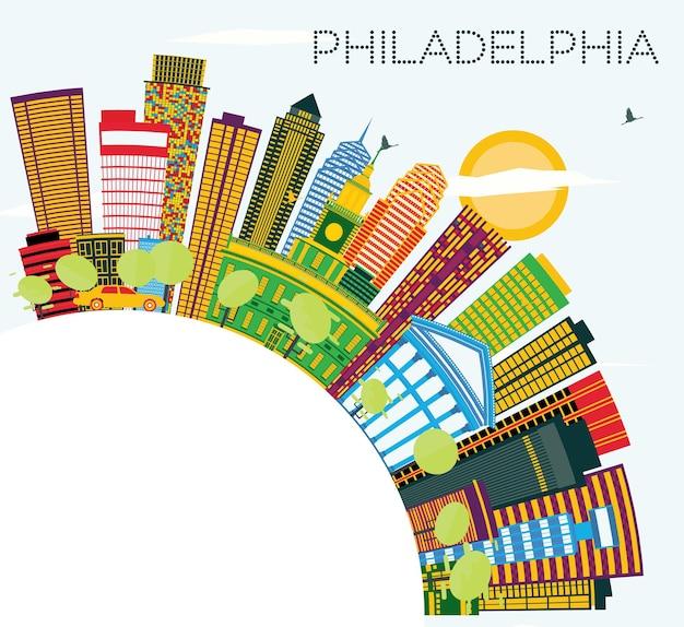 Horizonte de filadelfia con edificios de color, cielo azul y espacio de copia. ilustración de vector. concepto de turismo y viajes de negocios con edificios modernos. paisaje urbano de filadelfia con hitos.
