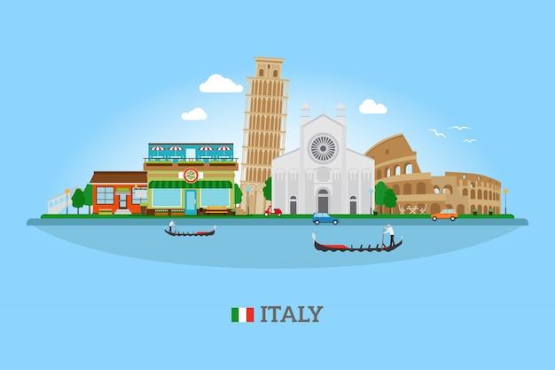 Horizonte de italia con puntos de referencia
