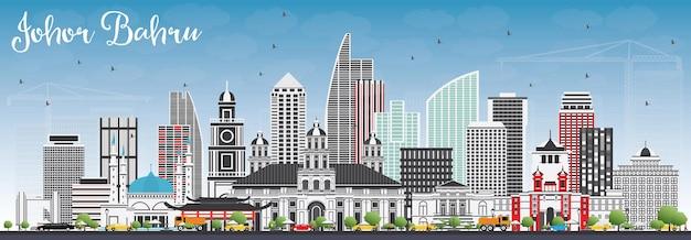 Horizonte de johor bahru malasia con edificios grises y cielo azul. ilustración de vector.