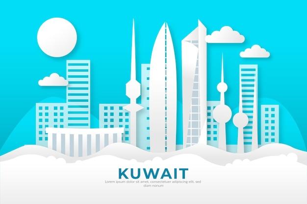 Horizonte de kuwait en estilo papel