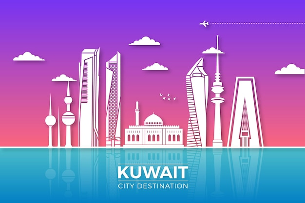 Horizonte de kuwait en papel
