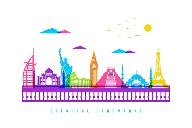 Horizonte de monumentos con tema colorido