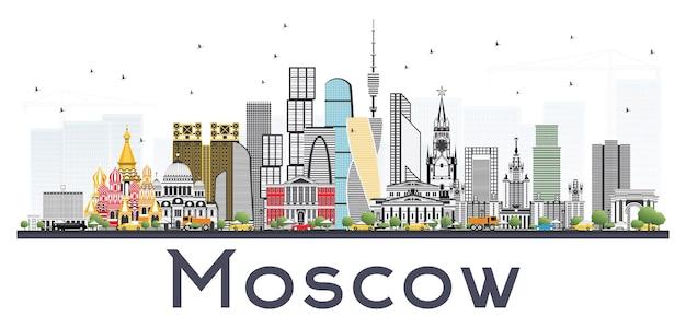 Horizonte de moscú rusia con edificios grises aislados sobre fondo blanco. ilustración de vector. ilustración de viajes de negocios y turismo con arquitectura moderna.
