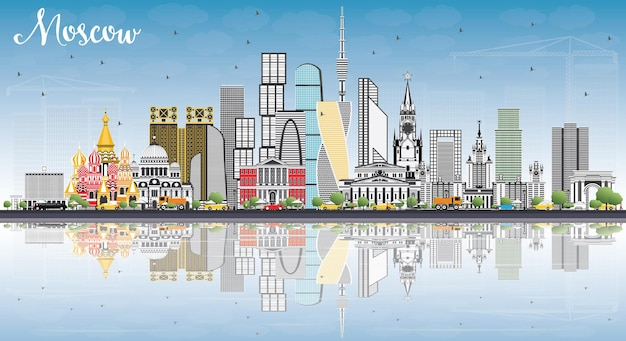 Horizonte de moscú rusia con edificios grises, cielo azul y reflejos. ilustración de vector. ilustración de viajes de negocios y turismo con arquitectura moderna.
