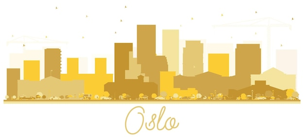 Horizonte de oslo noruega silueta dorada. ilustración vectorial. concepto de viajes de negocios. paisaje urbano de oslo con hitos.