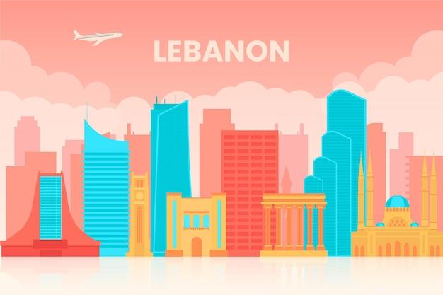 Horizonte plano de líbano ilustrado