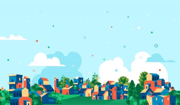 Horizonte del pueblo vista panorámica de casas y árboles verdes, fondo de cielo azul con nubes, virus en el aire