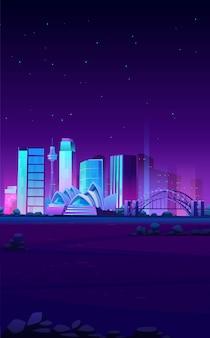 Horizonte de sydney, australia con banner de la casa de ópera