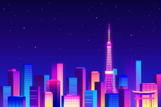Horizonte de tokio noche estrellada en luz de neón