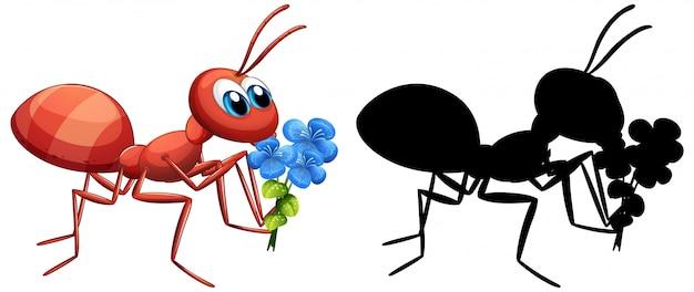 Hormiga con conjunto de flores