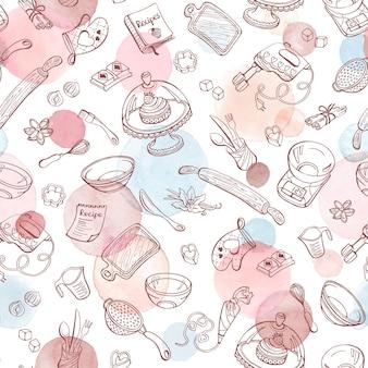 Hornear doodle de patrones sin fisuras con utensilios de cocina. utensilios para hornear hechos a mano.