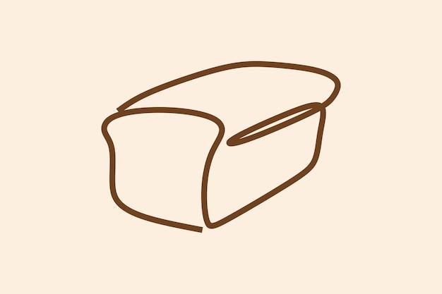 Hornear pan blanco en línea arte de línea continua