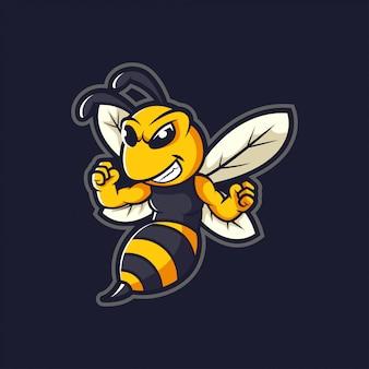 Hornet bee mascot cartoon logo ilustración