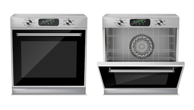 Horno compacto realista con pantalla digital, temporizador, programas de cocción preestablecidos