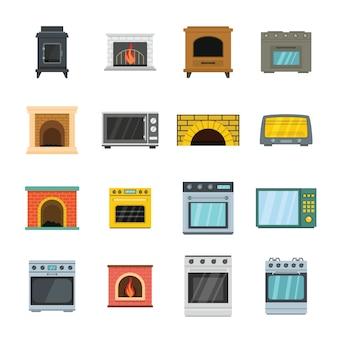 Horno estufa horno chimenea iconos conjunto