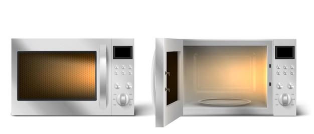 Horno microondas moderno con puerta abierta y cerrada
