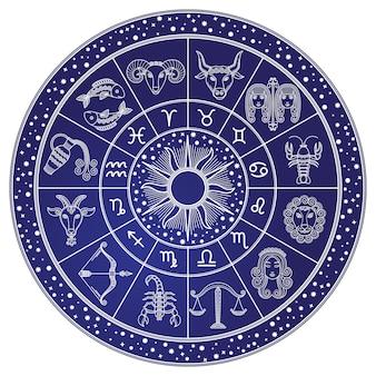 Horóscopo y astrología círculo, vector del zodiaco