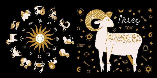 Horóscopo completo en el círculo zodíaco de la rueda del horóscopo con doce signos ilustración vectorial