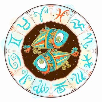 Horóscopo signo de piscis en el círculo zodiacal.