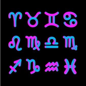 Horóscopo signo zodiacal forma 3d gradiente astrología gráfica